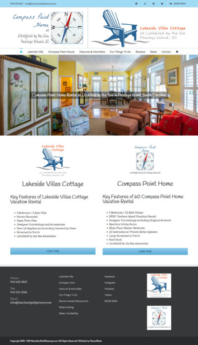 Beach and Golf Getaway Vacation Rental Wordpress E-commerce Site